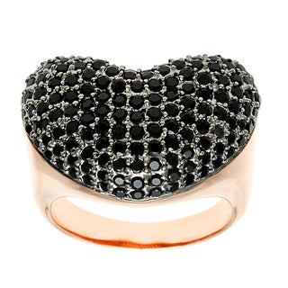 18k Gold Overlay Black Cubic Zirconia Ring