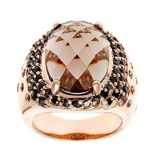 18k Gold Overlay Black Cubic Zirconia Smokey Quartz Ring