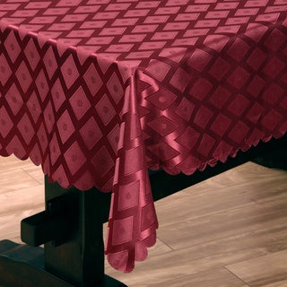 Two-tone Red Diamond Damask 57x95-inch Tablecloth