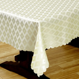 Two-tone Olive Diamond Damask 57x138-inch Tablecloth