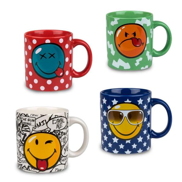 Konitz Multi-color Smiley Face Ceramic Mugs (Set of 4)