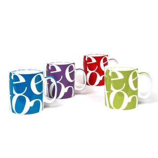 Konitz Assorted Script Collage Mugs (Set of 4)