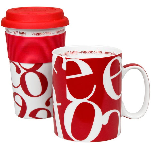 Konitz Red Script Collage Travel Mug & Coffee Mug Set
