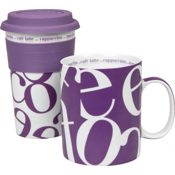 Konitz Purple Script Collage Travel Mug & Coffee Mug Set