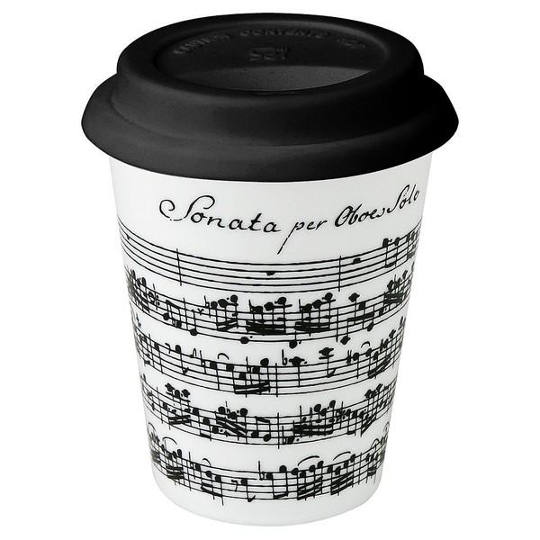 Konitz White Vivaldi Libretto Music Note Travel Mugs (Set of 2)