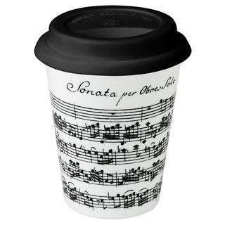 Konitz White Vivaldi Libretto Music Note Travel Mugs (Set of 2)