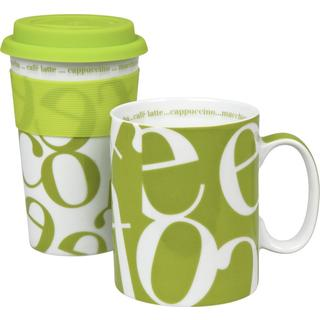 Konitz Green Script Collage Travel Mug & Coffee Mug Set