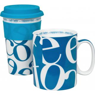 Konitz to Stay/ to Go Blue Script Collage Mugs (Set of 2)