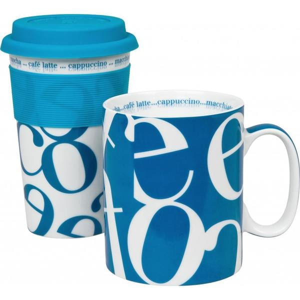 Konitz Blue Script Collage Travel Mug & Coffee Mug Set