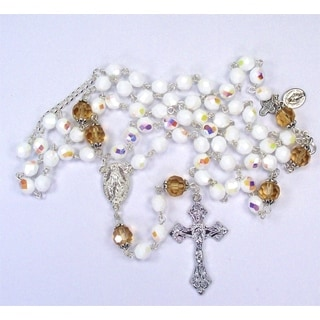 White Glass Aurora Borealis Rosary and Matching Bracelet