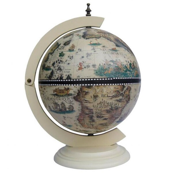 Classic turin italian style 13 inch white tabletop globe for 16 inch floor old world bar globe cart
