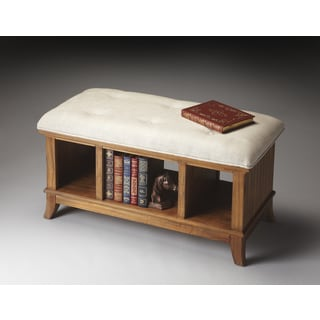 Transitional Mindi Hardwood Sandy Shore Storage Bench