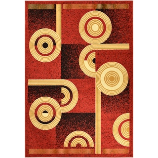 Paterson Abstract Dark Red Area Rug (5' x 7')
