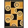 Paterson Abstract Black/ Gold Area Rug (8'2 x 9'10)