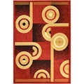 Paterson Abstract Dark Red Area Rug (8'2 x 9'10)