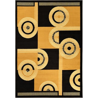 Paterson Abstract Black/ Gold Area Rug (5' x 7')