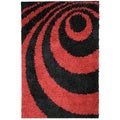 Soft Shag Dark Red Contemporary Abstract Area Rug (3'3 x 4'7)