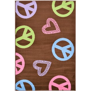 "Brown Hearts and Peace Design Area Rug (3'3"" x 5')"