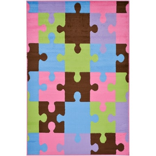 Multi-Color Contemporary Patchwork Design Area Rug (5' x 7')