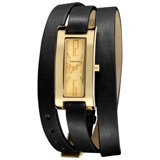 Vernier Women's Gold-tone Case Black Triple Wrap Strap Quartz Watch