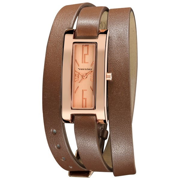 Vernier Women's Rose Gold-Tone Case Brown Triple Wrap Strap Quartz Watch