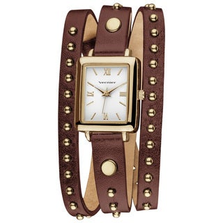 Vernier Women's Goldtone Round Studded Brown Genuine Leather Triple Wrap Watch
