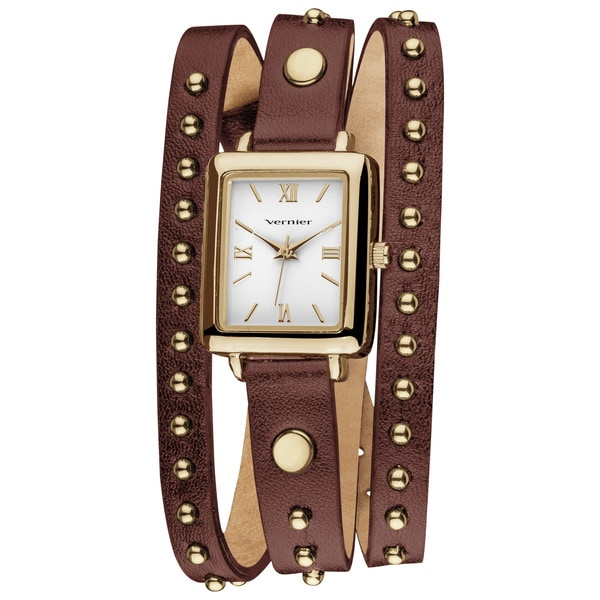 Vernier Women's Goldtone Round Studded Brown Genuine Leather Triple Wrap Watch