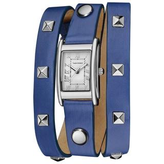 Vernier Women's Round Studded Blue Genuine Leather Triple Wrap Watch
