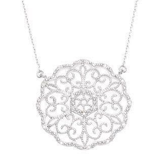 La Preciosa Sterling Silver Filigree Medallion Circle Diamond Necklace (I-J, I2-I3)