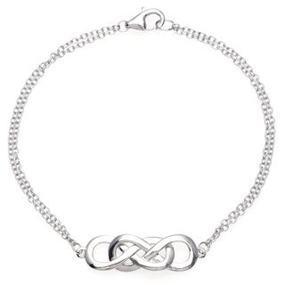 La Preciosa Sterling Silver Intertwined Double Infinity Bracelet