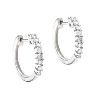 10k White Gold 1/3ct TDW Hoop Diamond Earrings (G-H, I2)