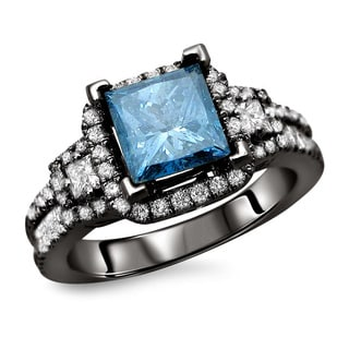 18k Black Gold 2ct TDW Blue and White Princess Cut Diamond Ring