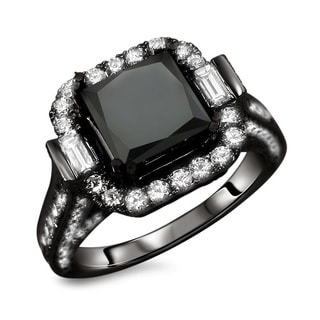 18k Black Gold 4 1/2ct TDW Certified Princess Cut Black and White Diamond Ring (E-F, VS1-VS2)