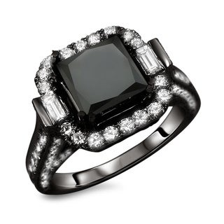 18k Black Gold 4.5ct TDW Princess Cut Black and White Diamond Ring (E-F, VS1-VS2)