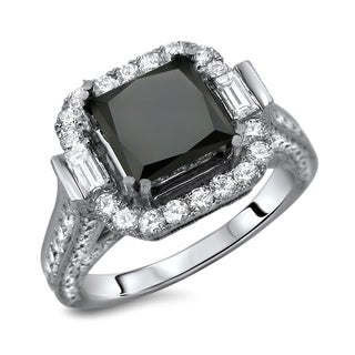18k White Gold 4.5ct TDW Certified Black Princess Cut Diamond Engagement Ring (E-F, VS1-VS2)