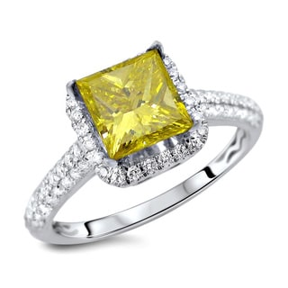 18k White Gold 1 7/8ct TDW Certified Yellow Princess Cut Diamond Ring (E-F, VS1-VS2)
