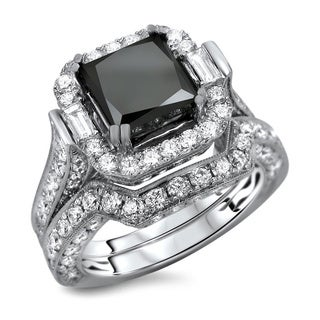 18k White Gold 6ct TDW Black Diamond Princess Cut 2-Piece Ring Set