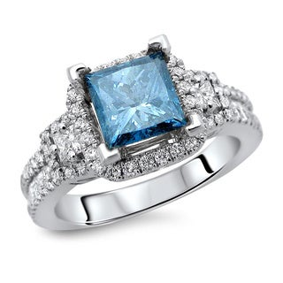 18k White Gold 2ct TDW Certified Blue and White Princess Cut Diamond Ring (E-F, VS1-VS2)