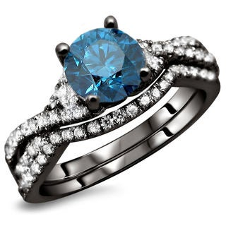 18K Black Gold 1.5ct TDW Blue and White Diamond 2-Piece Ring Set