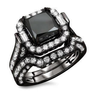 18k Black Gold 6 1/10ct TDW Certified Black Princess Cut Diamond 2-piece Ring Set