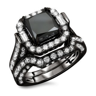 18k Black Gold 6.10ct TDW Black Princess Cut Diamond 2-piece Ring Set