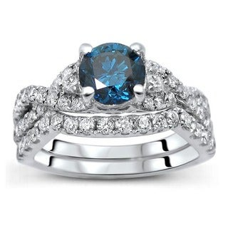 18K White Gold 1 1/2ct TDW Certified Blue Diamond 2-piece Bridal Set (F-G, SI1-SI2)