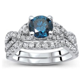 18K White Gold 1.5ct TDW Certified Blue Diamond 2-piece Bridal Set (F-G, SI1-SI2)