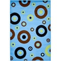 Blue Contemporary Circles Design Area Rug (5 x 7)