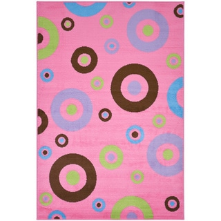 Pink Contemporary Circles Design Area Rug (3'3 x 5'0)