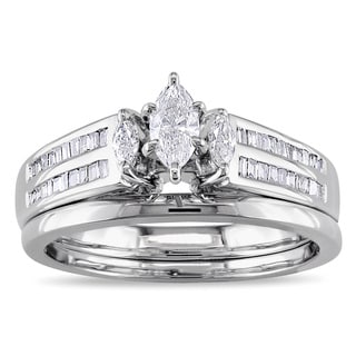 Miadora 14k Gold 1/2ct TDW Marquise Diamond Bridal Set (G-H, I1-I2)