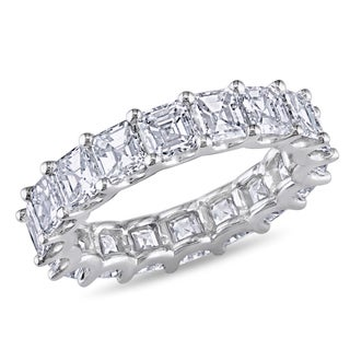 Miadora 18k Gold 5ct TDW Certified Asscher Cut Diamond Eternity Band (E-F, VS1-VS2)
