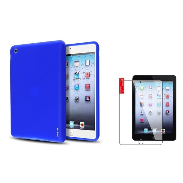 INSTEN Dark Blue Tablet Case Cover/ Screen Protector for Apple iPad Mini 1/ 2 Retina Display