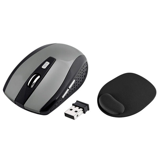 INSTEN Grey Optical Mouse/ Black Mouse Pad