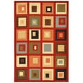 Dark Red Contemporary Boxes Design Non-skid Area Rug (5' x 6'6)